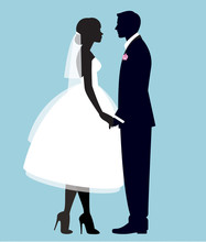 Silhouette Of A Loving Couple Of Newlyweds Groom And Bride In Full Length In Wedding Dresses