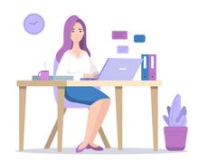 Woman At Computer Vector Illustration Of Girl In Office Or Home Texting Chat Message On Laptop With Coffee Sitting At Table. Designer, Social Media Blogger Or Manager In Glasses At Workplace