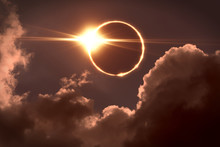 Total Eclipse Of The Sun. The Moon Covers The Sun In A Solar Eclipse