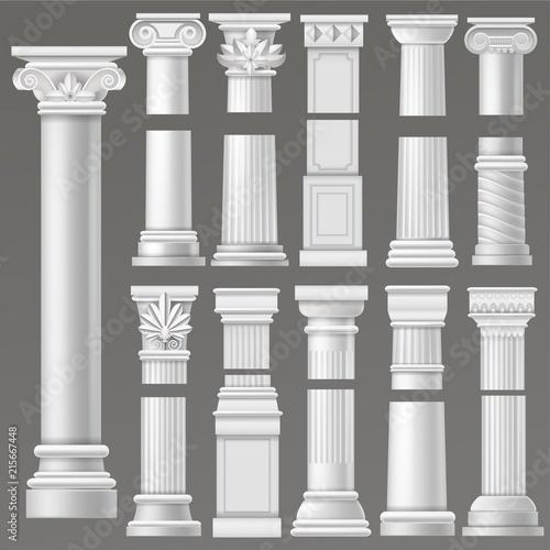 Ancient column vector historical antique column or classic pillar of historic ro Obraz na płótnie