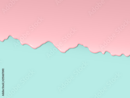 Fototapeta Vector art design in 3D style. Pink glaze flowing along the turquoise edge of the cake obraz