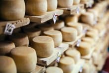 Cow Milk Cheese, Stored In A Wooden Shelves