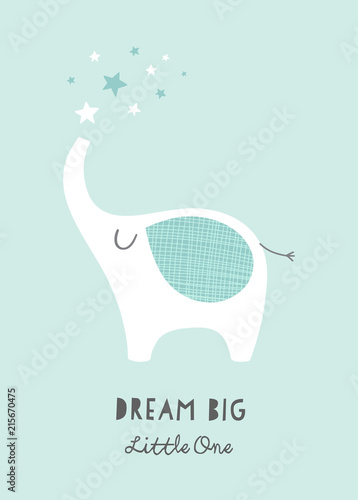 Dream Big Little One  nursery poster with cute lephant and stars Wallpaper Mural