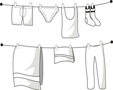 Clothes Hanging In Clothesline. Hand Drawn Sketch.