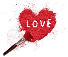 Love On Heart Shaped Crushed Makeup Color Powder With Brush