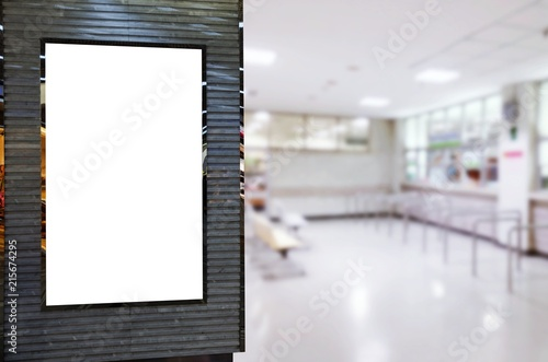Poster Pharmacie mock up of blank advertising light box or showcase billboard for your text message or media content in waiting zone for pay money and receive medicine at cashier pharmacy counter at hospital