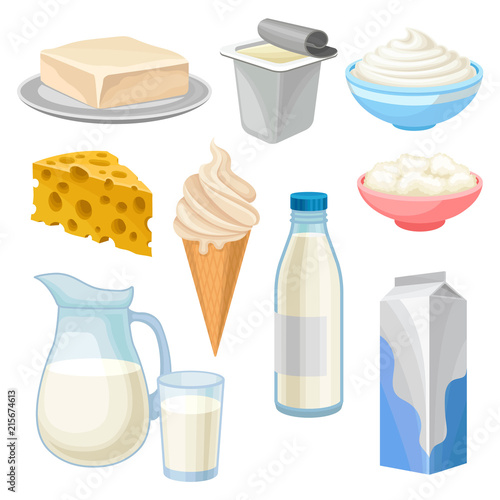 Fotografia Dairy products set, butter, yogurt, bowl of sour cream and cottage cheese, ice c