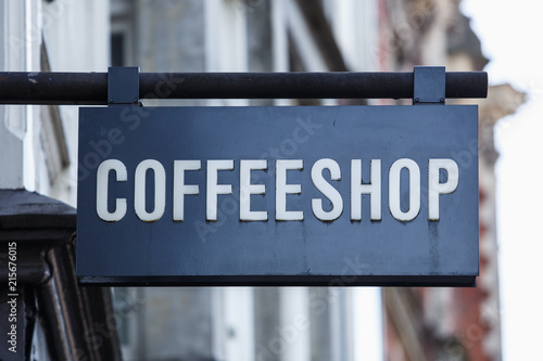Photo Coffee shop banner on entrance in Amsterdam