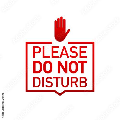Fotografía  Please do not disturb label on white background