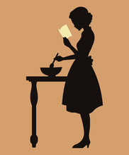 Vintage Woman Cooking From A R...