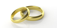 Two Golden Wedding Rings Isolated On White Background, 3d Illustration