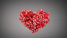 Heart Shape Of Small Red Glossy Pieces 3D Render