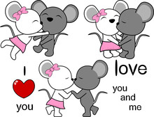 Lovely Cute Mouse Kissing Cart...