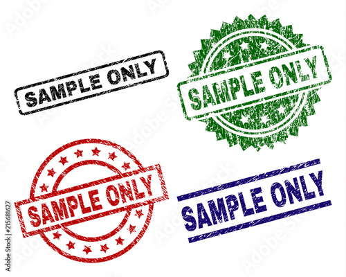 SAMPLE ONLY seal stamps with corroded style. Black, green,red,blue vector rubber prints of SAMPLE ONLY title with corroded style. Rubber seals with circle, rectangle, rosette shapes. Wall mural