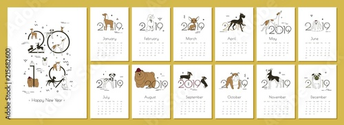 Tela  Monthly creative calendar 2019 with dog breeds Vector illustration A4