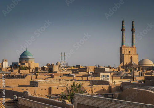 Foto op Canvas Midden Oosten rootops and landscape view of yazd city old town iran