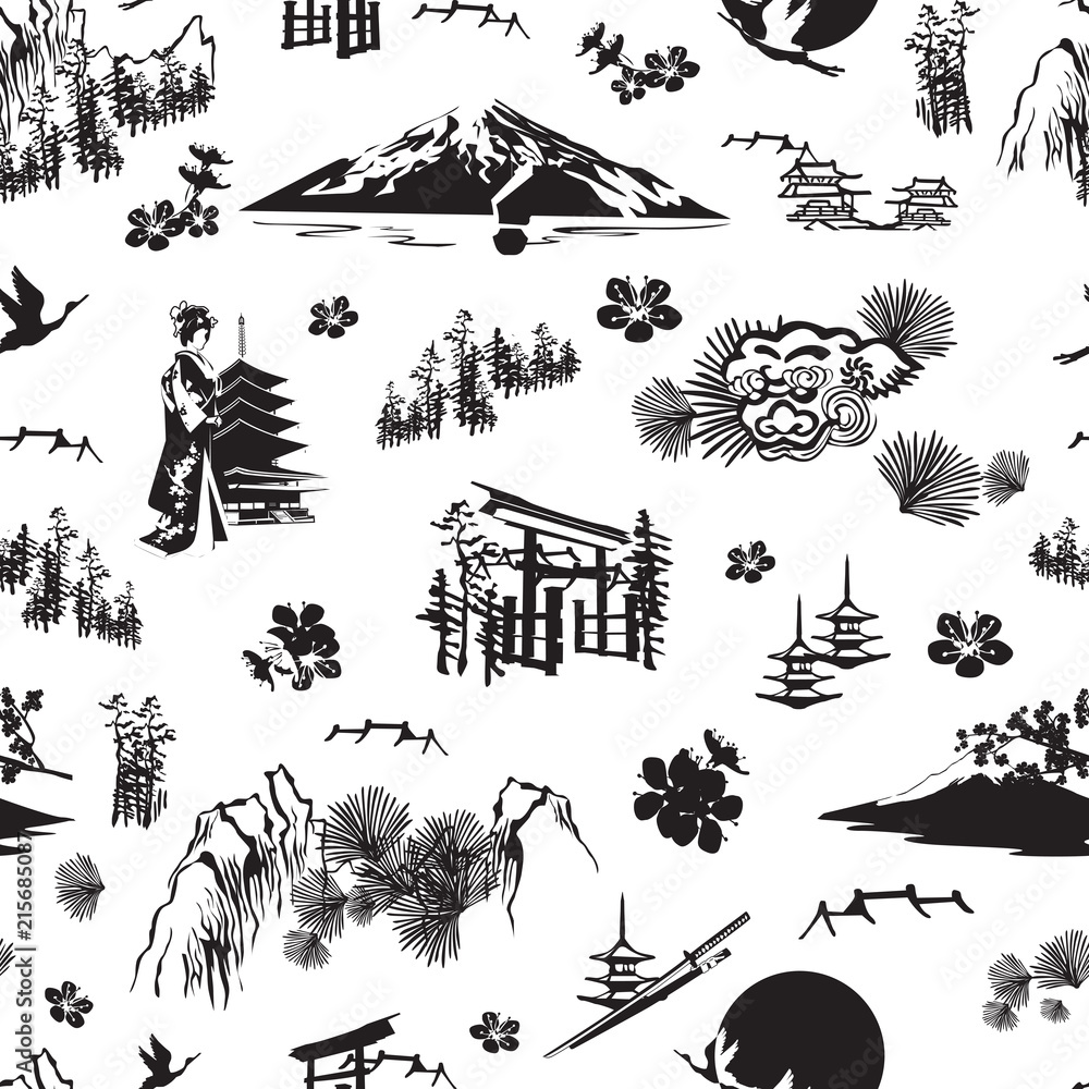 A seamless pattern with miniatures symbolizing Japan. Sakura, kimono, pines, Fuji, torii, lanterns and others.