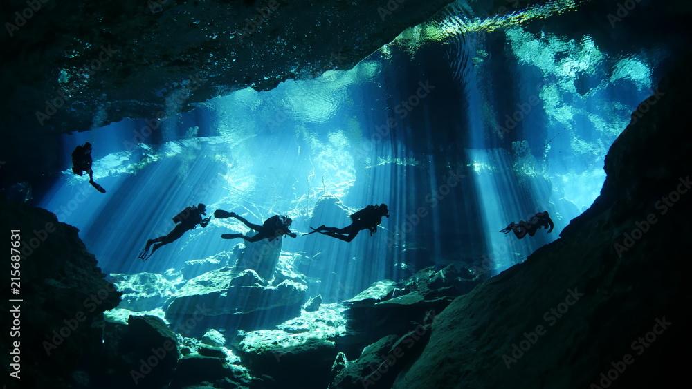 Fototapeta Diving in cenote