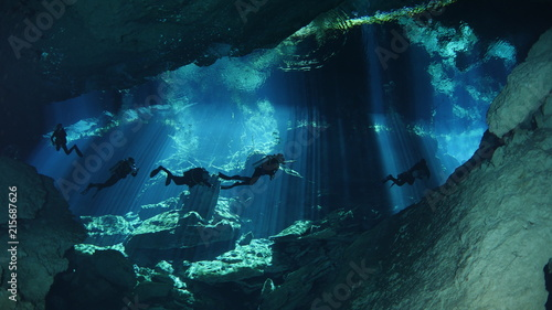 Diving in cenote Poster Mural XXL