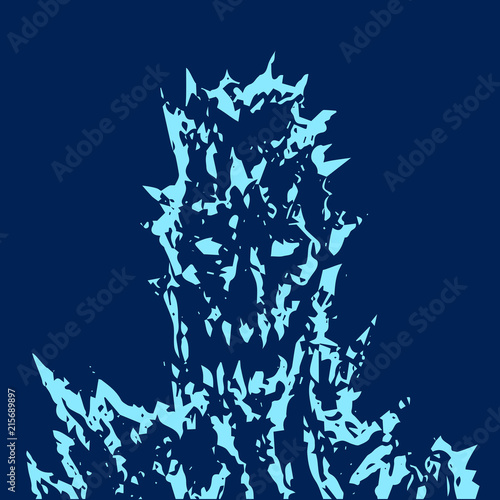 Photo  Satanic monster face with sharp thorns. Vector illustration.