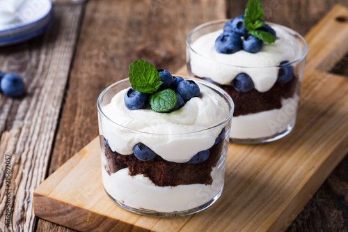 Blueberry chocolate cake trifle in glass