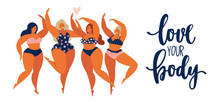 Beauty Girls Body Positive People Concept Group Of Happy Women Different In Swimsuit.