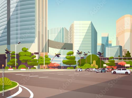 Piscine City car parking over skyscraper buildings modern cityscape background horizontal flat vector illustration