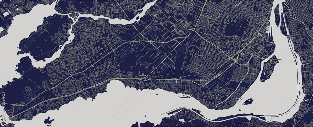 Fototapety, obrazy: vector map of the city of Montreal , Canada