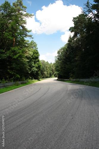 Tuinposter Weg in bos Kręta asfaltowa droga przez las, tor wyścigowy