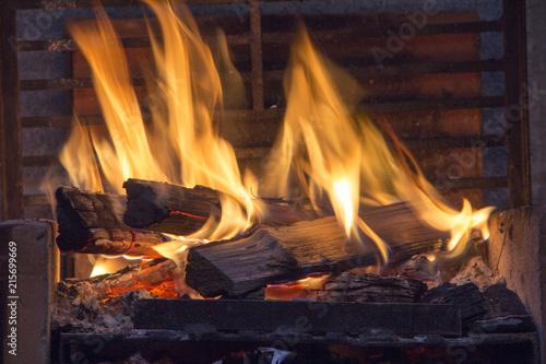 Poster Fire / Flame bonfire of coal, fire, smoke