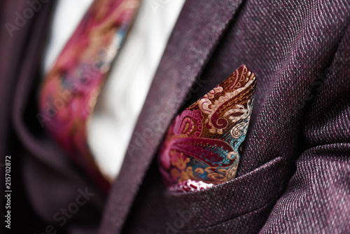 Fotografía  Man in suit, plaid texture, bow tie and pocket square, close up white background