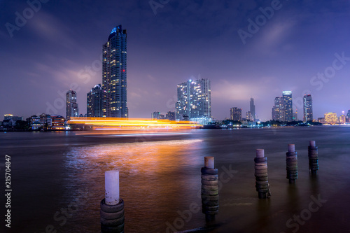 Long exposure of Bangkok's skyscrapers at night Fototapeta