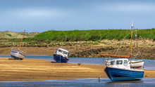 Several Boats On The Beach At Low Tide, Burnham Overy Staithe, Norfolk