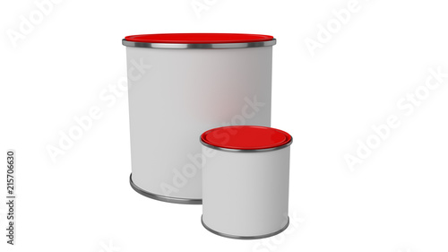 3D Realistic Render Composition Of Two Isolated Paint Can With Red