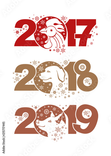 Rooster 2017 Dog 2018 Pig 2019 Symbols Of The Years On The