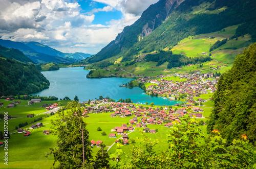 Foto  Aerial view on Lungernsee lake near Luzern, Switzerland, Europe