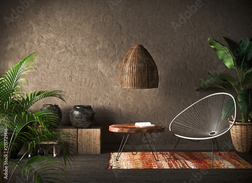 La pose en embrasure Style Boho Ethnic interior, 3d render