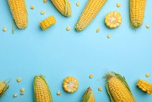 Flat Lay Composition With Tasty Sweet Corn Cobs On Color Background
