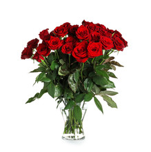 Vase With Beautiful Red Roses ...