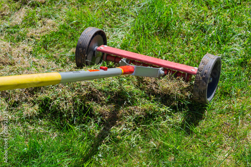 Cleaning up the grass with a rake Canvas Print