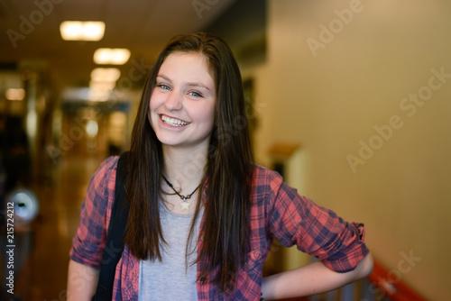 Fotografie, Tablou High school girl in hallway smiling