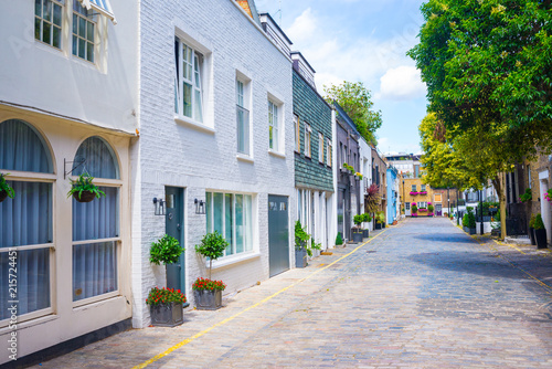 Fotobehang Zuid-Amerika land Exclusive mews with colored luxury residential houses in Marylebone, a weatlhy borough of central London