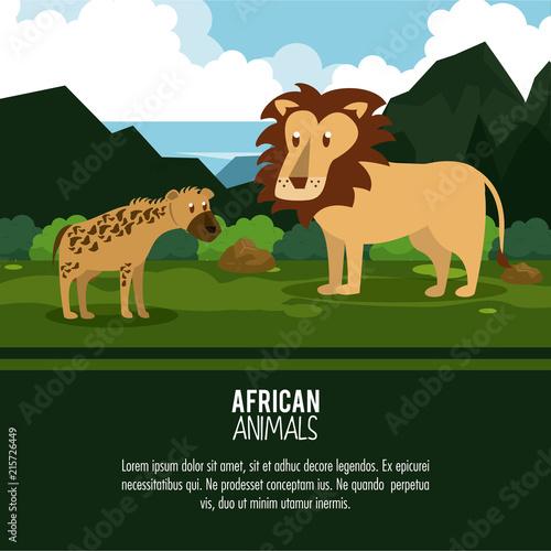 African animals cartoon poster with information vector illustration graphic design © Jemastock
