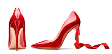 Red High Heel Footwear Ribbon ...