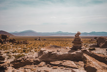 Rock Stack Or Cairn In The Desert Of The Eduardo Avaroa National Park In Bolivia. These Were Used By Indigenous People To Mark Boundaries / Trails In The Wilderness