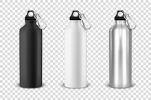 Vector Realistic 3d Black, White And Silver Empty Glossy Metal Water Bottle With Black Bung Icon Set Closeup On Transparency Grid Background. Design Template Of Packaging Mockup For Graphics. Front