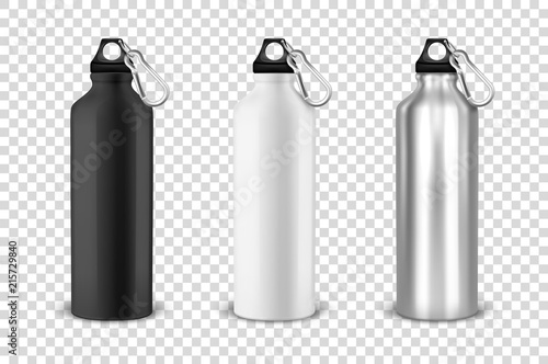 Fotografie, Obraz  Vector realistic 3d black, white and silver empty glossy metal water bottle with black bung icon set closeup on transparency grid background