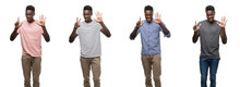 Collage Of African American Man Wearing Different Outfits Showing And Pointing Up With Fingers Number Seven While Smiling Confident And Happy.