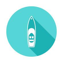 Speedboat Icon In Flat Long Sh...