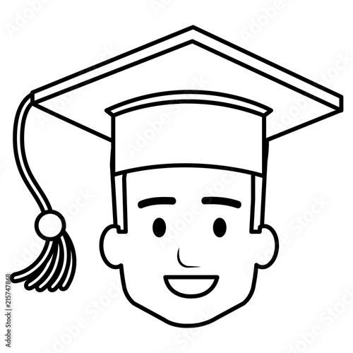 Photo head student graduation with uniform vector illustration design